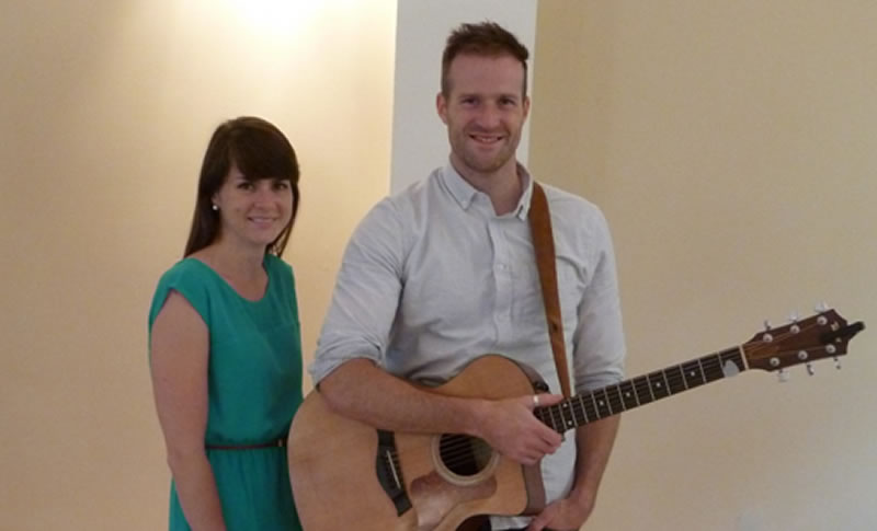 Matt and Kate—BPC music team getting ready for Sunday morning worship
